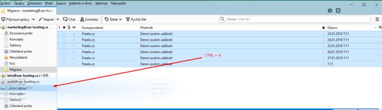 Pomocí CTRL+A označíte a přenesete všechny zprávu z konkrétní složky