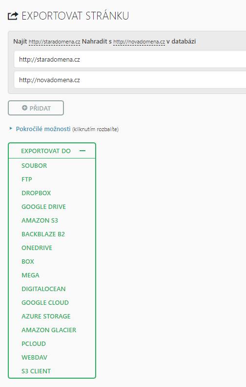 Export WordPressu pomocí pluginu