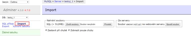 Import databáze v Admineru