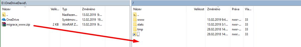 Levá strana: váš počítač, Pravá strana: nový poskytovatel hostingu