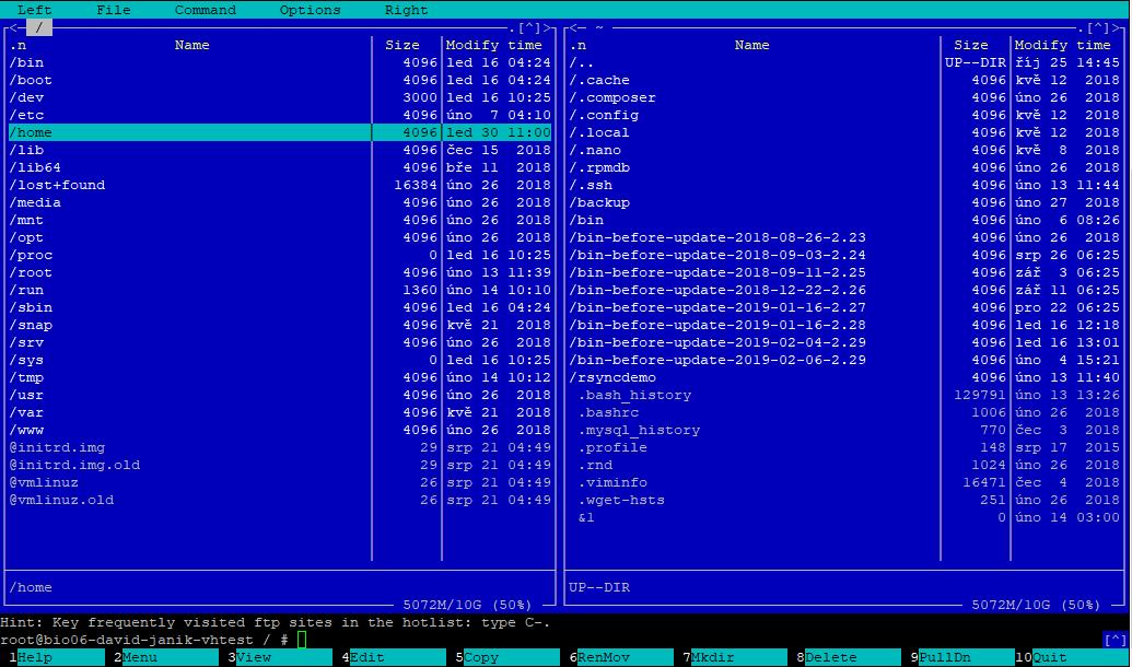 Na levé straně máte lokální úložiště a na pravé si můžeme zobrazit FTP na původním serveru