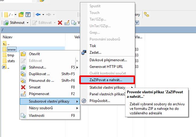 Zazipování souboru ve WinSCP